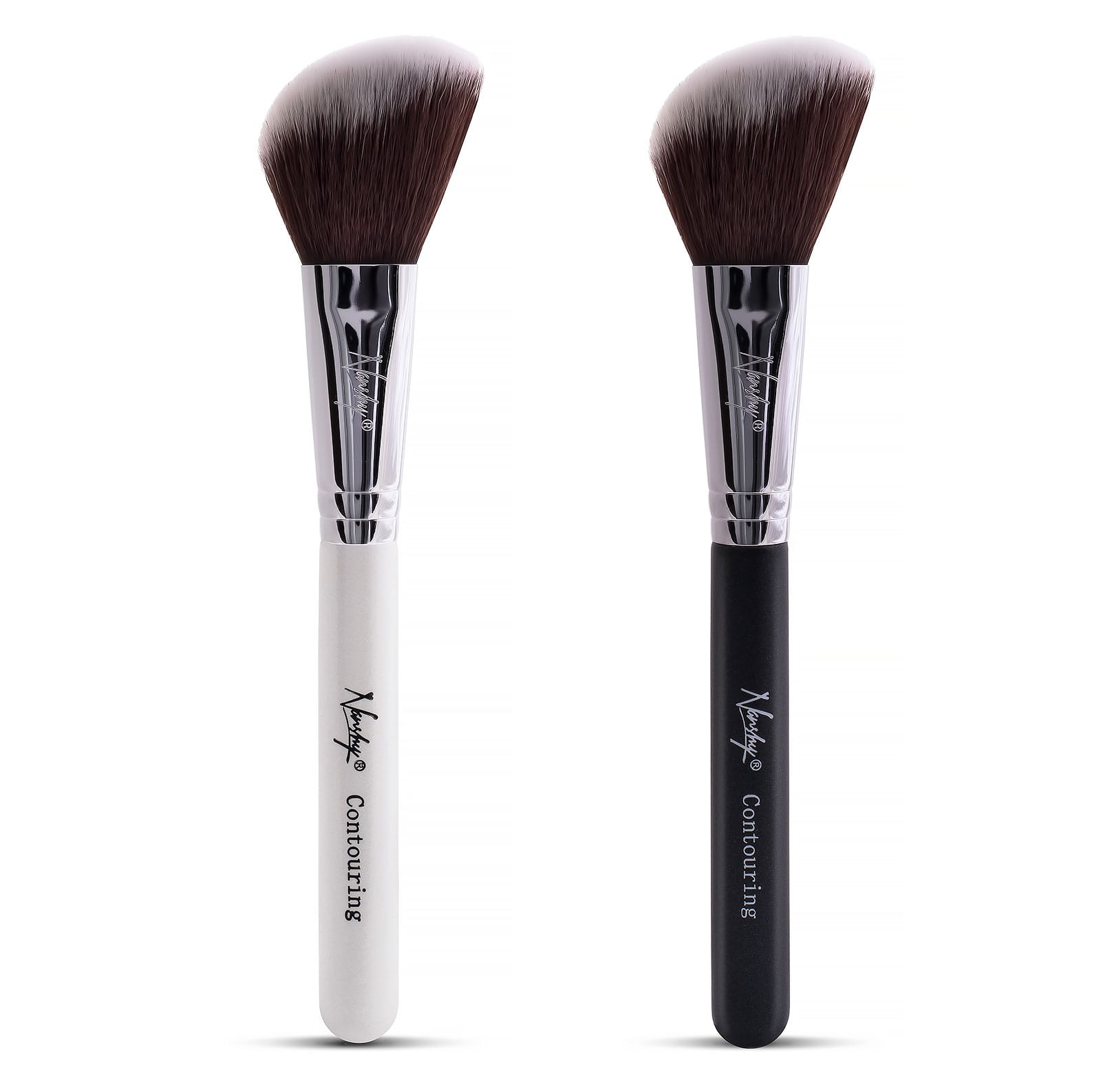 This contouring brush features man-made silky soft fiber and can be used for eyebrows, eyelashes, eyes and cheeks makeup. The professional flat contour brush by Kingfansion can be used to apply powder, cream and liquid-based products. However, some users complain that it takes them about minutes to get the suds out of the brush.