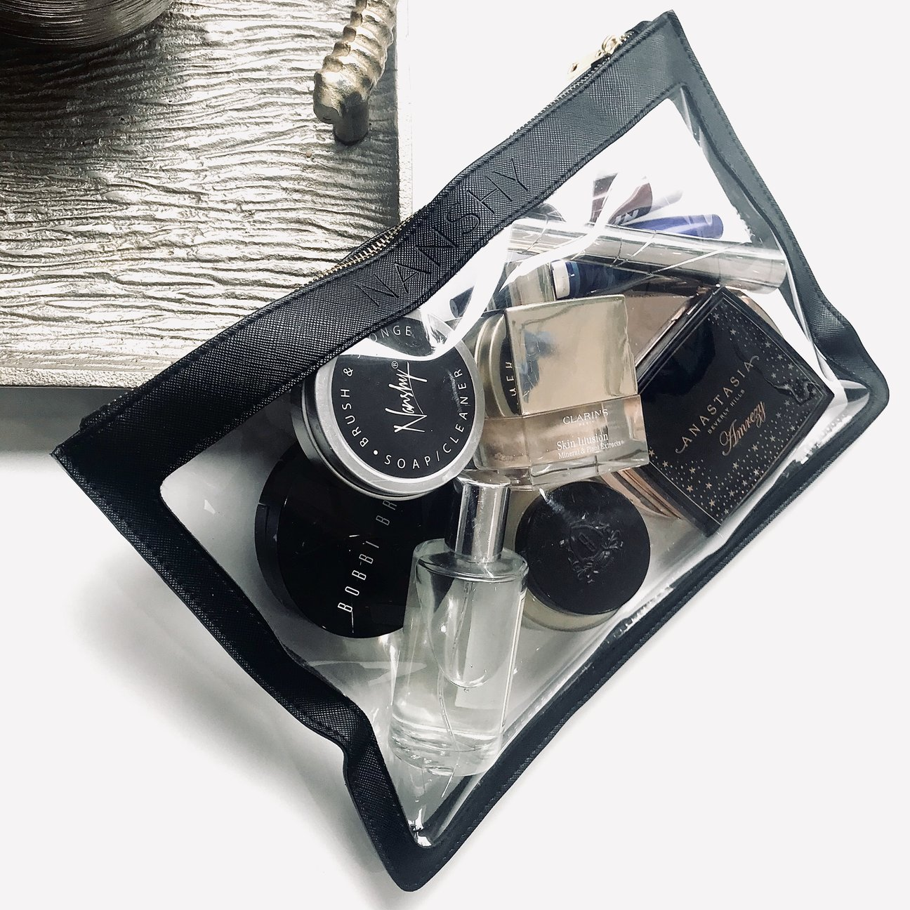Clear Makeup Pouch Cosmetics Black